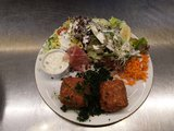 huisgemaakte gandahamkroketten (2)- salade/meloen_