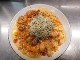 Pasta met scampies (8) en oosterse groentjes- curry/kokos_