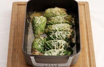 cannelloni van groene kool - spek/oesterzwam